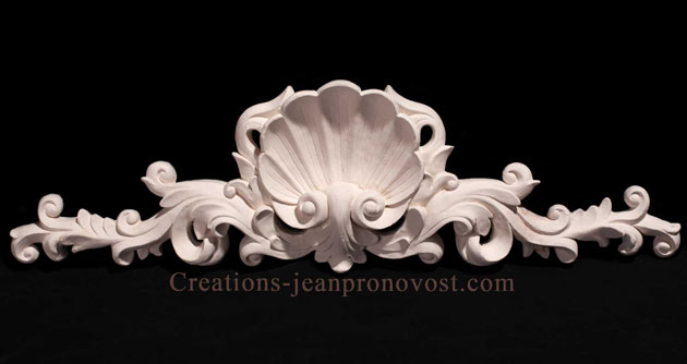 decorative shell plaque, decorative sculpture, sculpture Quebec, plaster decoration