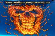 Airbrush fire skull