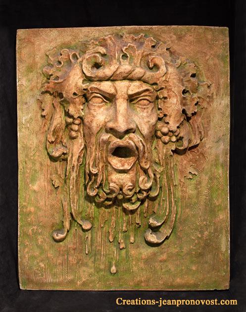 bas relief de Baccus, sculpture et decoration de jardin et de fontaine
